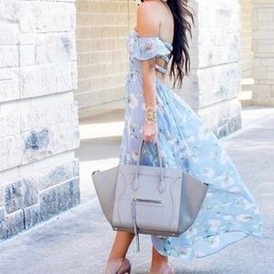 Blue and floral, sheer, high-low maxi dress